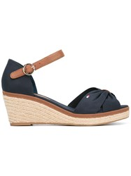 Tommy Hilfiger Peep Toe Wedges Women Cotton Leather Tactel Rubber 39 Blue
