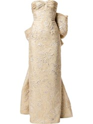 Bambah Juliet Back Bow Pencil Gown Gold