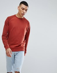 Only And Sons Stripe Sweatshirt Burnt Henna Red