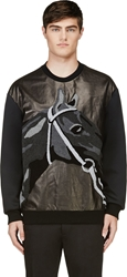 3.1 Phillip Lim Black Flocked Horse Pullover