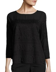 Karl Lagerfeld Three Quarter Sleeve Lace Trimmed Crepe Top Black