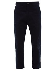 Studio Nicholson Bill Cropped Cotton Twill Trousers Navy