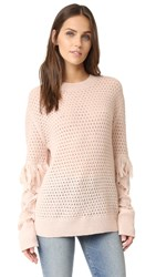 Tanya Taylor Cable Lace Naomi Fringe Sweater Shell