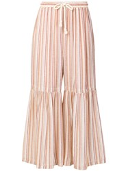 See By Chloe Flared Cuff Palazzo Trousers Nude And Neutrals