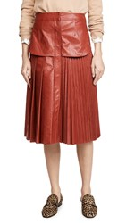 Cedric Charlier Eco Faux Leather Skirt Red