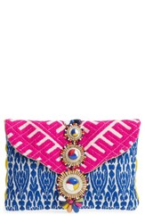 Steve Madden Steven By Beaded And Embroidered Clutch Orange Multi