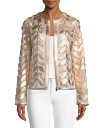 Neiman Marcus Metallic Leather Leaf And Mesh Combo Jacket Rose Gold