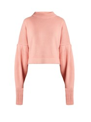 Tibi Bishop Sleeved Cropped Cashmere Sweater Pink