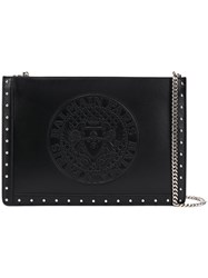 Balmain Logo Chain Clutch Black