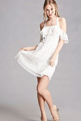 Forever 21 Crochet Lace Halter Dress White