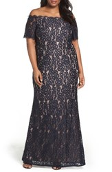 Adrianna Papell Plus Size Women's Lace Off The Shoulder Mermaid Gown Midnight Nude