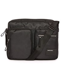 Diesel Black Phasers Nylon 2 Pocket Messenger Bag