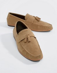 New Look Faux Suede Loafers With Tassels In Stone