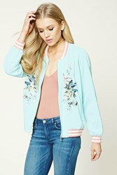 Forever 21 Embroidered Bomber Jacket Aqua Cream