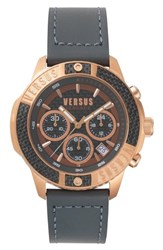 Versus By Versace Admiralty Chronograph Leather Strap Watch 44Mm Grey Rose Gold