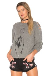 Lauren Moshi Jetta Distressed Pullover Gray