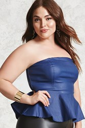 Forever 21 Plus Size Faux Leather Top Indigo