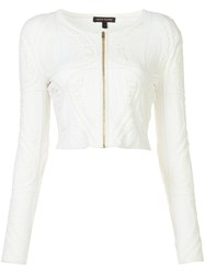 Sophie Theallet Cropped Zip Jacket Women Silk Polyamide Polyester S White