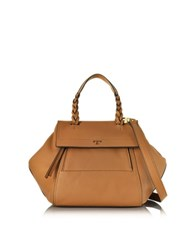 Tory Burch Halfmoon Gingerbread Leather Small Satchel Brown