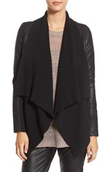 Blank Nyc Women's Blanknyc 'All Or Nothing' Knit Drape Faux Leather Jacket