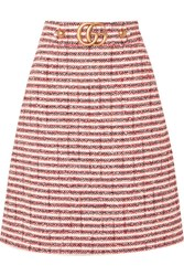 Gucci Embellished Striped Tweed Skirt Red