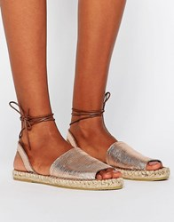 Pieces Lilo Metallic Lace Up Espadrilles Rose Gold Copper