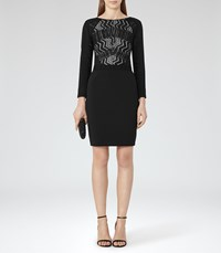 Reiss Libby Womens Lace Front Dress In Black