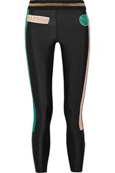 P.E Nation On Deck Appliqued Striped Stretch Jersey Leggings Black