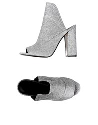 Grey Mer Mules Silver