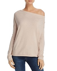 Minnie Rose Metallic One Shoulder Sweater Pink Diamond