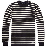 Armor Lux 2915 Fouesnant Raye Wool Striped Mariner Crew Knit Blue