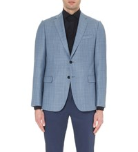Armani Collezioni Textured Single Breasted Wool Jacket Blue