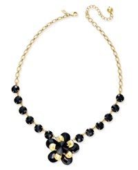 Kate Spade New York Sunset Blooms Gold Tone Flower Statement Necklace Black Multi