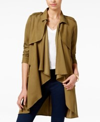 Joe And Elle Juniors' Waterfall Trench Coat Olive