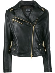 Versace Jeans Couture Collar Tipped Moto Jacket Black