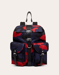 Valentino Garavani Uomo Camouflage Nylon Backpack With Leather Detail Man Navy Red Acrylic 10 Navy Red