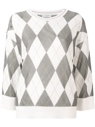 Ballantyne Argyle Knit Jumper White