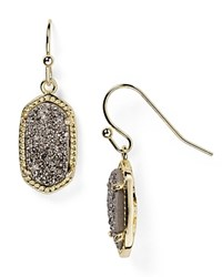 Kendra Scott Lee Agate Drop Earrings Gold Platinum Druzy