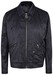 Lanvin Navy Crinkle Effect Satin Jacket