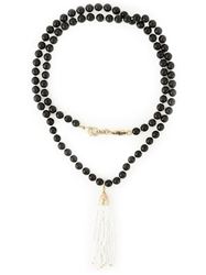 Rosantica Fringe Pendant Beaded Necklace Black
