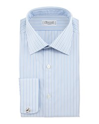 Charvet Striped French Cuff Dress Shirt Blue White Stripe