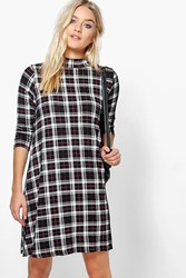 Boohoo Turtle Neck Checked Swing Dress Black