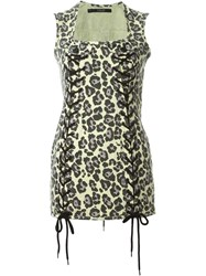 Sibling Leopard Print Mini Dress Yellow And Orange