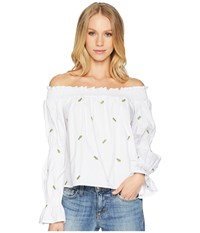 Bishop Young Polynesian Bare Shoulder Top White Blouse