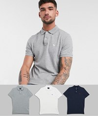 Abercrombie And Fitch 3 Pack Icon Logo Pique Polo In White Grey Navy Multi