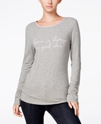 Maison Jules Long Sleeve Graphic T Shirt Only At Macy's Grey Combo