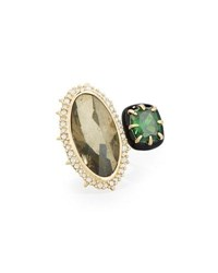 Alexis Bittar Pyrite And Emerald Cubic Zirconia Cocktail Ring Gold