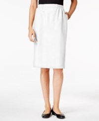 Alfred Dunner Petite Classic Pencil Skirt White