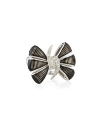 Stephen Webster Forget Me Knot Enamel Bow Ring W Diamonds Black