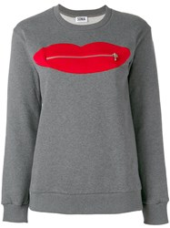 Sonia Rykiel By Zip Lips Sweatshirt Women Cotton S Grey